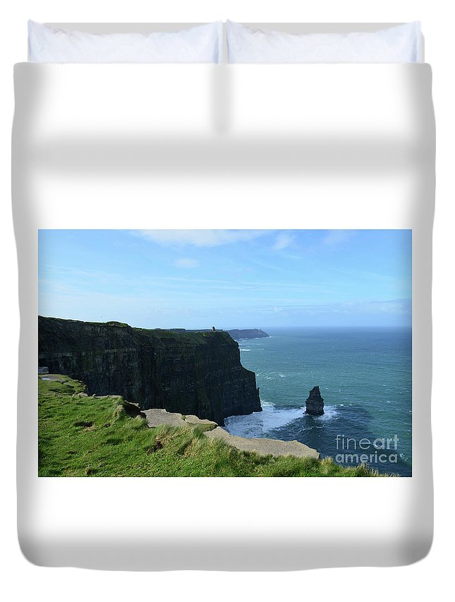 Needle Duvet Cover featuring the photograph The Needle Rock Formation On The Cliff's Of Moher by DejaVu Designs