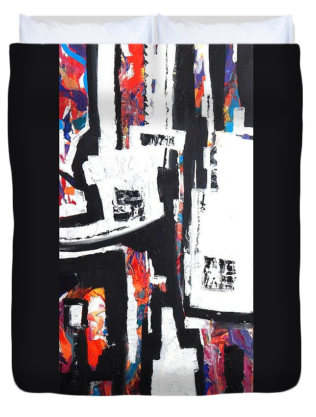 An All Time Favorite Of Mine Duvet Cover featuring the painting The Neigbhorhood by Expressionistart studio Priscilla Batzell