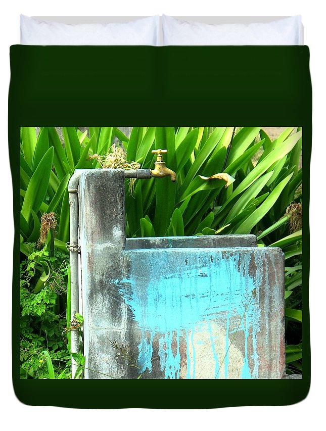 Water Duvet Cover featuring the photograph The Neighborhood Water Pipe by Ian MacDonald