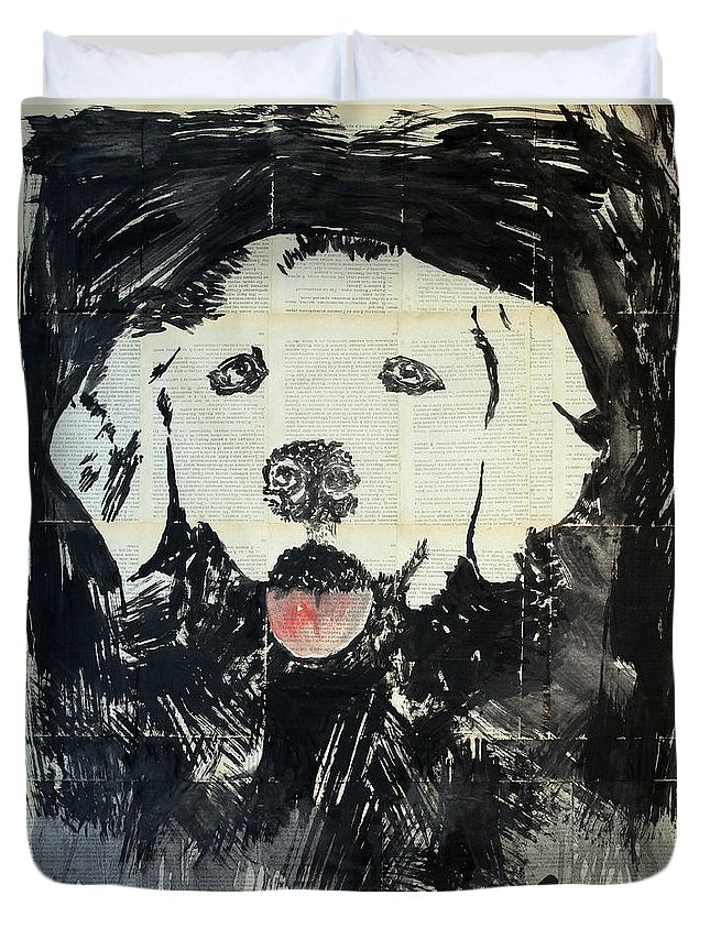 Dog Duvet Cover featuring the painting The Neighbor's Dog . by Marat Cherny