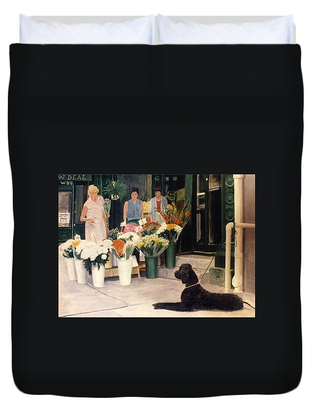 Mums Duvet Cover featuring the painting The New Deal by Steve Karol