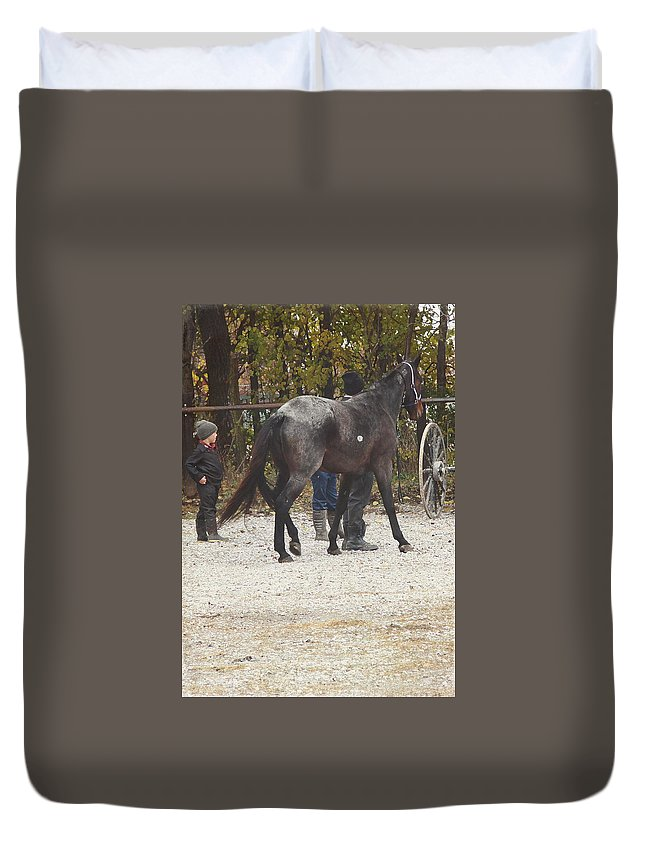 Angelandspot Duvet Cover featuring the photograph The New Horse by Cassie Peters
