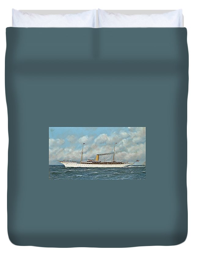 Antonio Nicolo Gasparo Jacobsen (copenhagen 1850-1921 Hoboken Duvet Cover featuring the painting The New York Yacht Club Steam Yacht Vanadis At Sea by MotionAge Designs