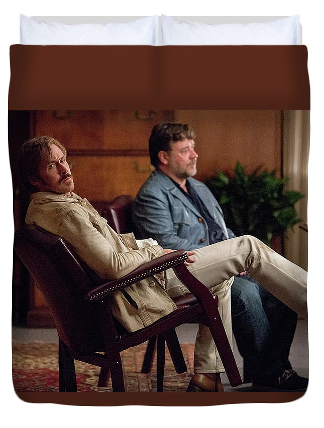 The Nice Guys Duvet Cover featuring the digital art The Nice Guys by Dorothy Binder