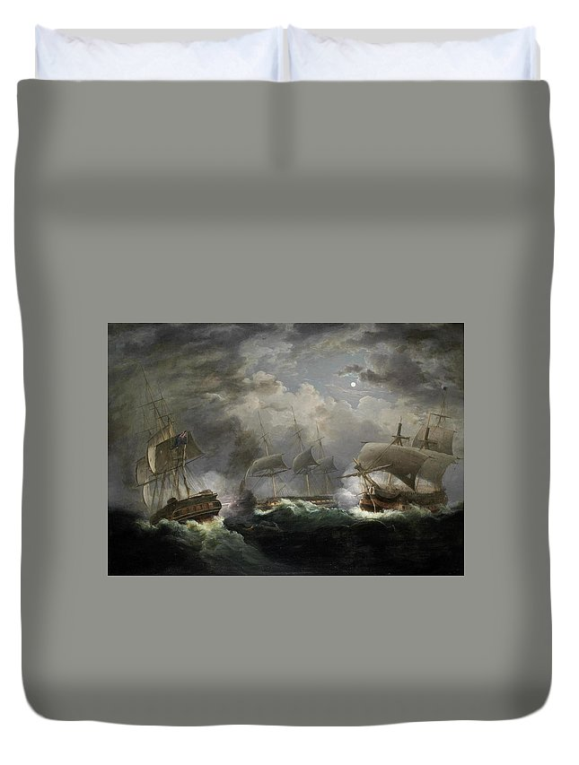 John Lynn Duvet Cover featuring the painting The Night Action by John Lynn
