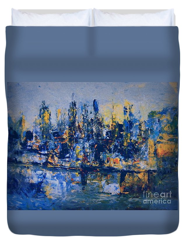 Abstract Acrylic City Painting Duvet Cover featuring the painting The Night City by Nancy Kane Chapman