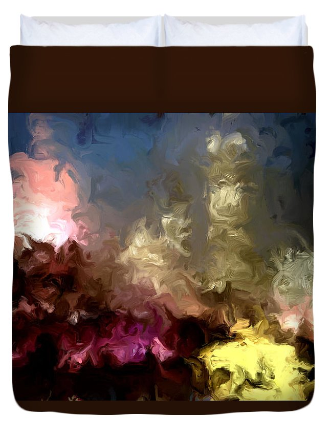 Pink Duvet Cover featuring the painting The Night Moves by Wayne Bonney