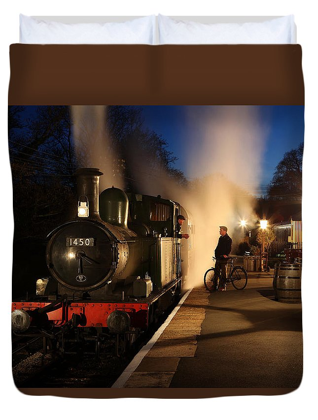 Steam Duvet Cover featuring the photograph The Night Shift by Robert Sherwood