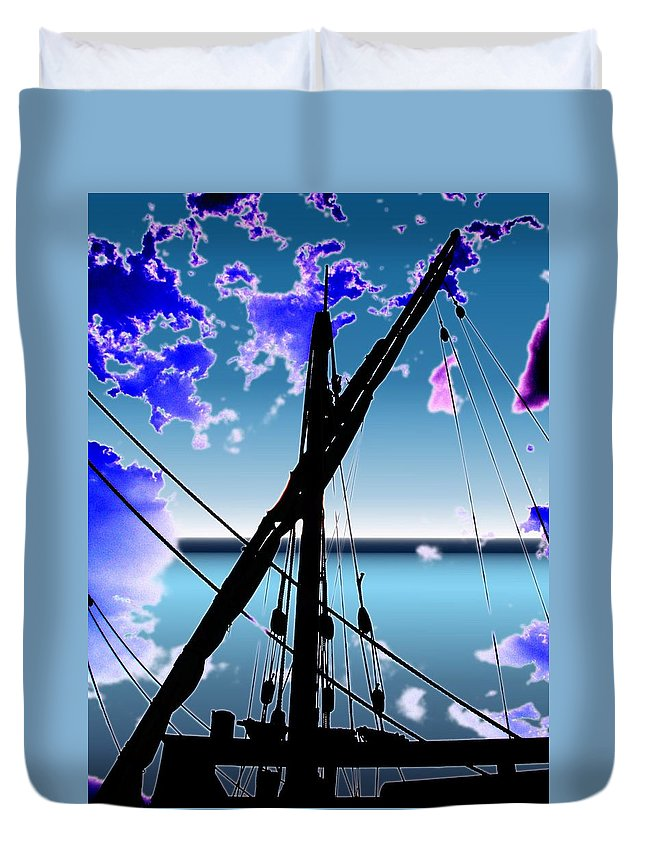 Seattle Duvet Cover featuring the digital art The Nina Mast by Tim Allen