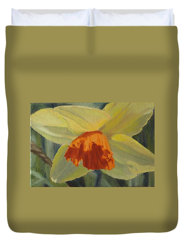 Flower Duvet Cover featuring the painting The Nodding Daffodil by Lea Novak