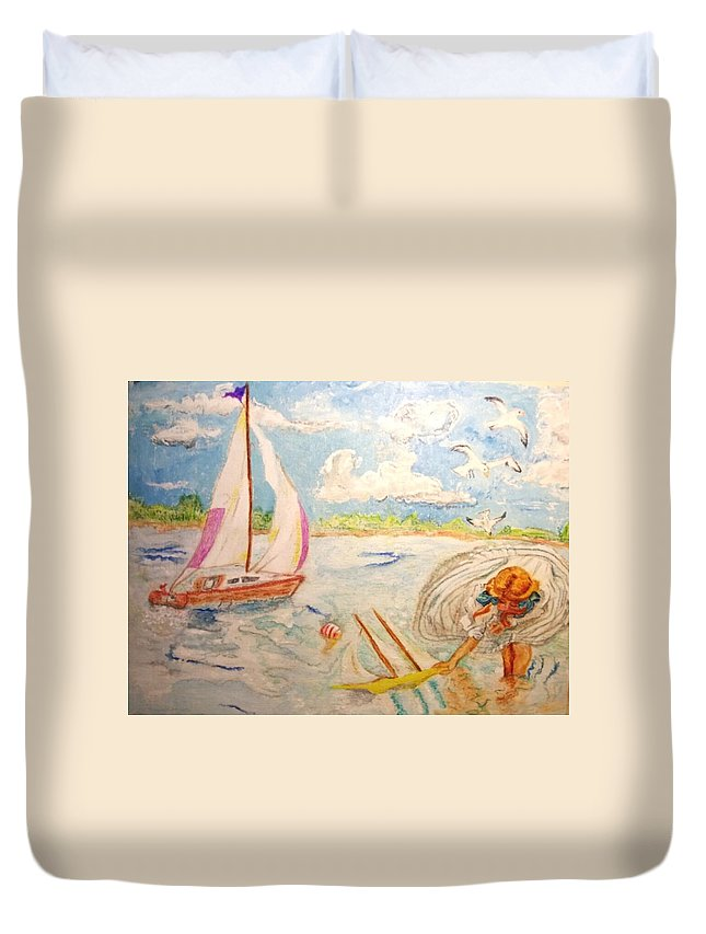 Sail Boat Duvet Cover featuring the painting The None Such Sailboat by Michelle Reid