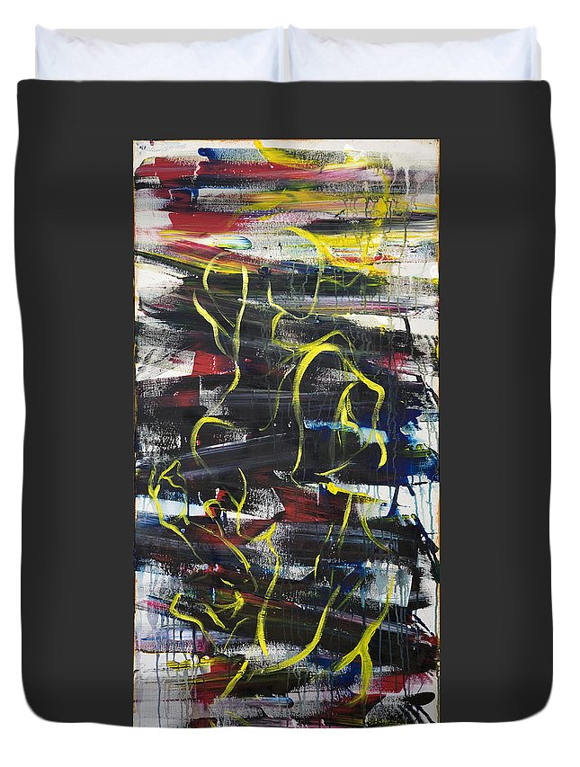 Black Duvet Cover featuring the painting The Noose by Sheridan Furrer