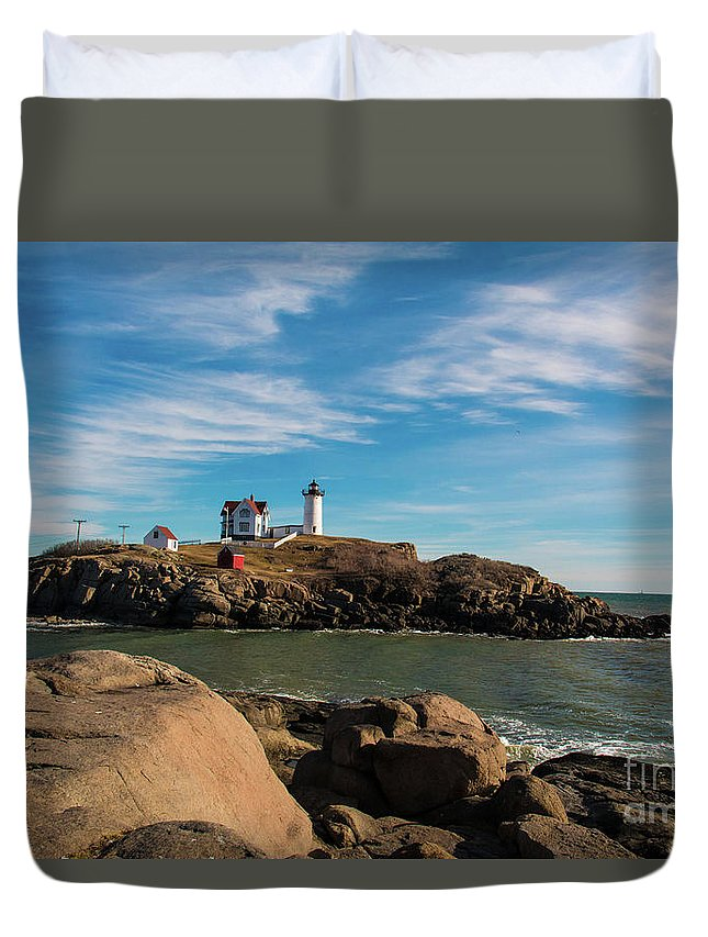 The Nubble Duvet Cover featuring the photograph The Nubble 2 by Mim White