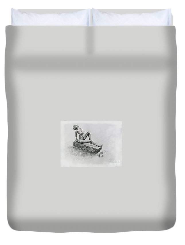 Nude Duvet Cover featuring the drawing The Nude Sculpture by Sukalya Chearanantana