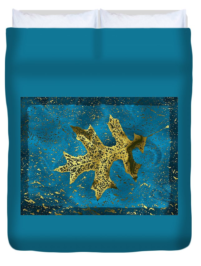 Oak Duvet Cover featuring the digital art The Oak Leaf And The Wind Storm by Tim Allen