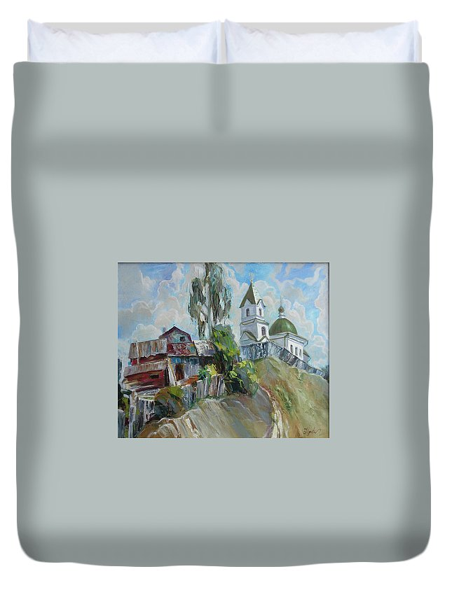 Oil Duvet Cover featuring the painting The Old And New by Sergey Ignatenko