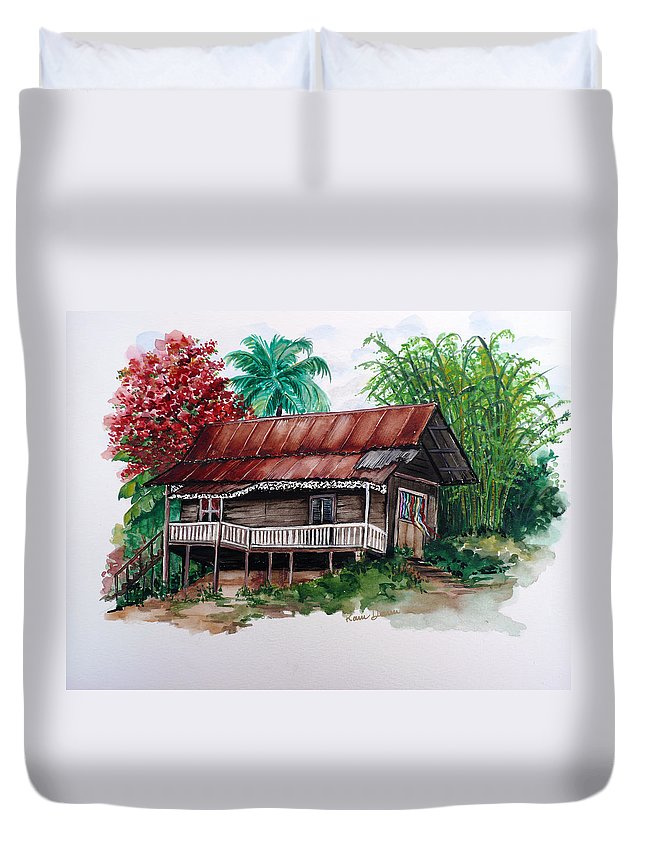 Tropical Painting Poincianna Painting Caribbean Painting Old House Painting Cocoa House Painting Trinidad And Tobago Painting  Tropical Painting Flamboyant Painting Poinciana Red Greeting Card Painting Duvet Cover featuring the painting The Old Cocoa House by Karin Dawn Kelshall- Best