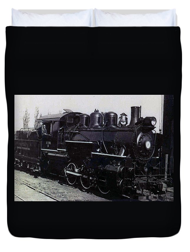 Old Photo Black And White Classic Saskatchewan Pioneers History Train Engine Duvet Cover featuring the photograph The Old Engine by Andrea Lawrence