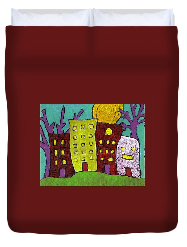 Buildings Duvet Cover featuring the painting The Old Neighborhood by Wayne Potrafka