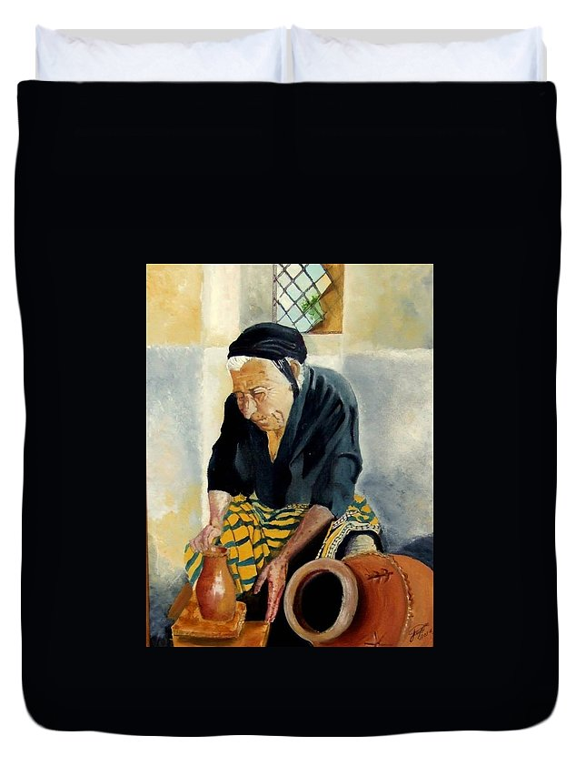 Old People Duvet Cover featuring the painting The Old Potter by Jane Simpson