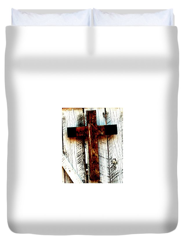 Cross Duvet Cover featuring the photograph The Old Rusted Cross by Wayne Potrafka