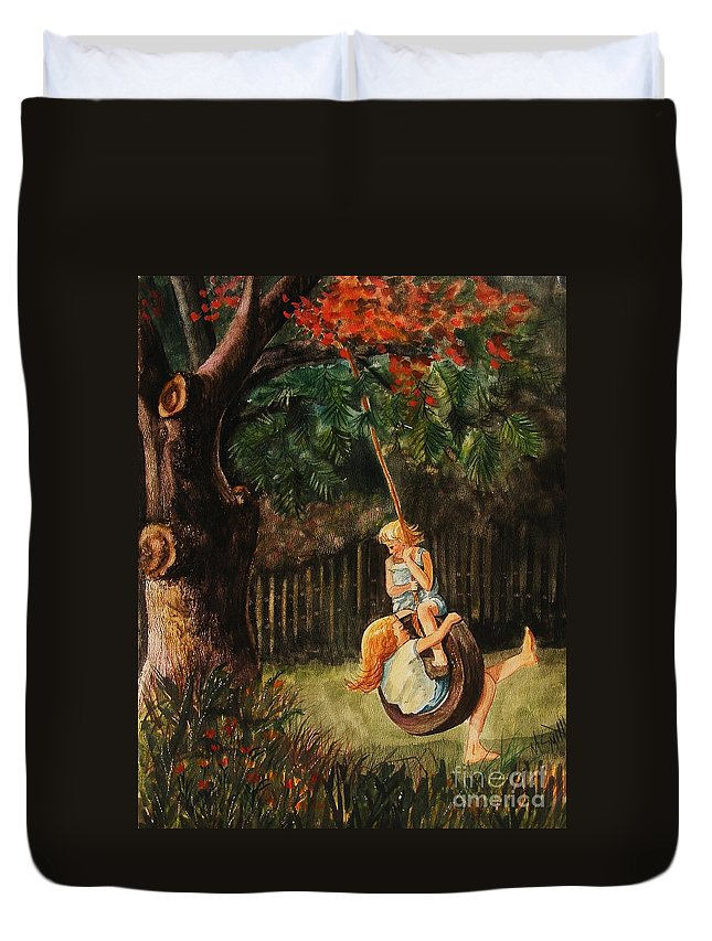 Girls Swinging Duvet Cover featuring the painting The Old Tire Swing by Marilyn Smith