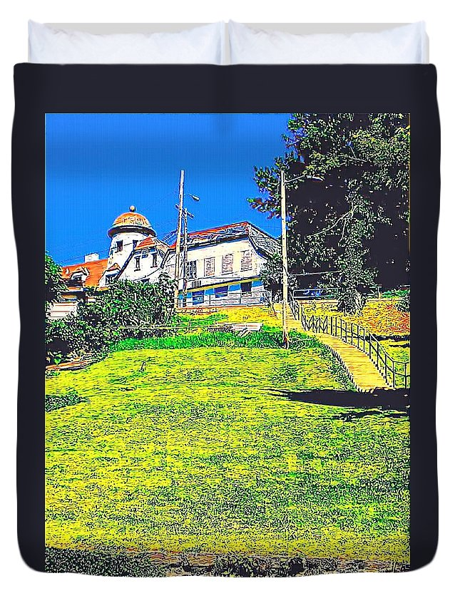 Duvet Cover featuring the photograph The Old Windmill by Lorie Kash