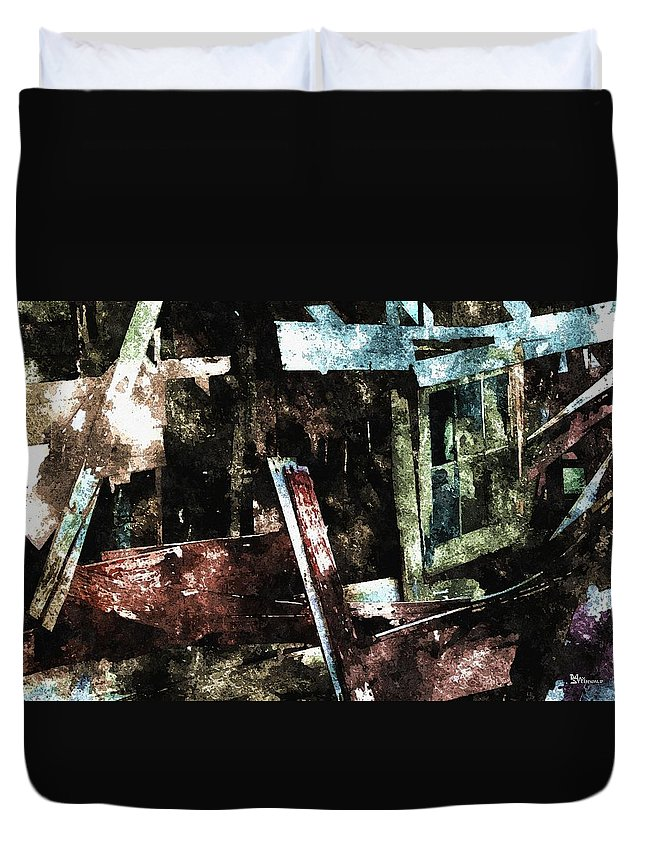 Ghost Duvet Cover featuring the digital art The Ghost Behind The Old Window by Max Steinwald