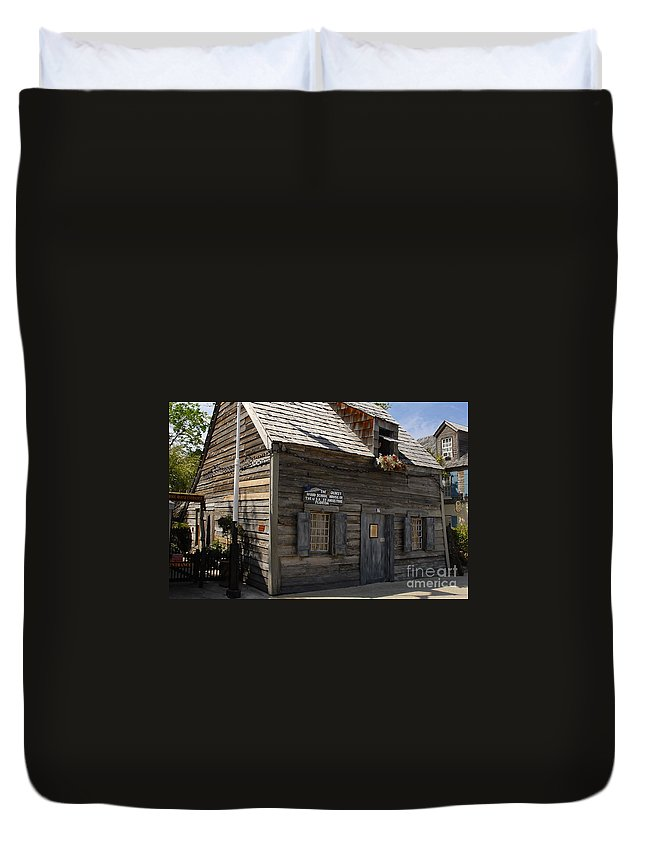 Saint Augustine Florida Duvet Cover featuring the photograph The Oldest School House by David Lee Thompson