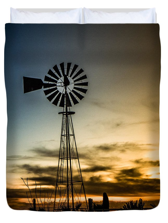 Desert Duvet Cover featuring the photograph The Old Windmill by Robert Bales