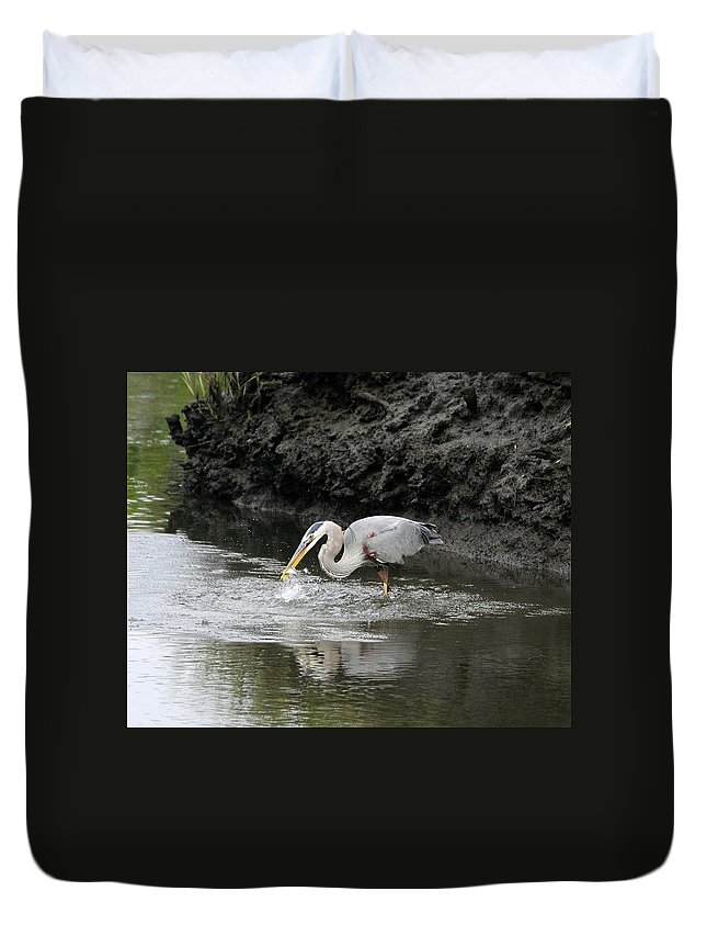 Great Blue Heron Duvet Cover featuring the photograph The One That Got Away by Al Powell Photography USA