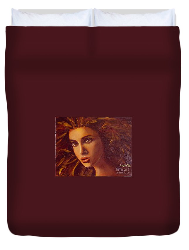 Portrait Duvet Cover featuring the painting The Oracle by Laurie Morgan