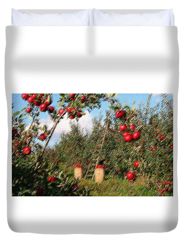 Apple Duvet Cover featuring the digital art The Orchard by CR Beaumont