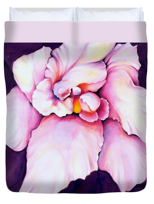 Orcdhid Bloom Artwork Duvet Cover featuring the painting The Orchid by Jordana Sands