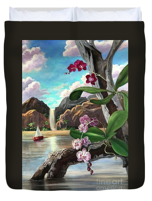 Orchids Duvet Cover featuring the painting The Orchids And The Sailboat by Randy Burns
