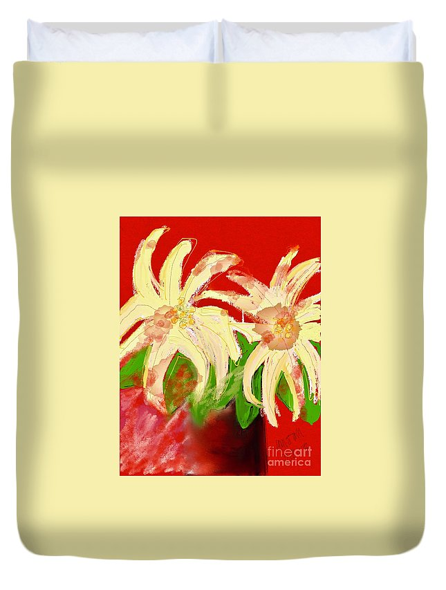 #pointsettia #still Life #shabby Chic #holiday Floral Duvet Cover featuring the digital art The Other Christmas by Mary Jane Mulholland