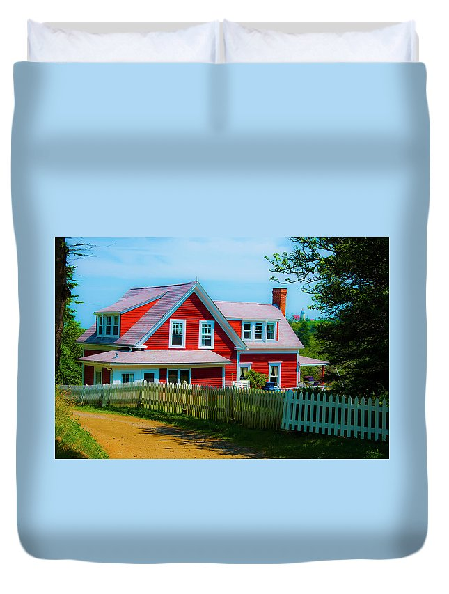 Red Duvet Cover featuring the photograph The Other Red House Monhegan by Jeff Cooper