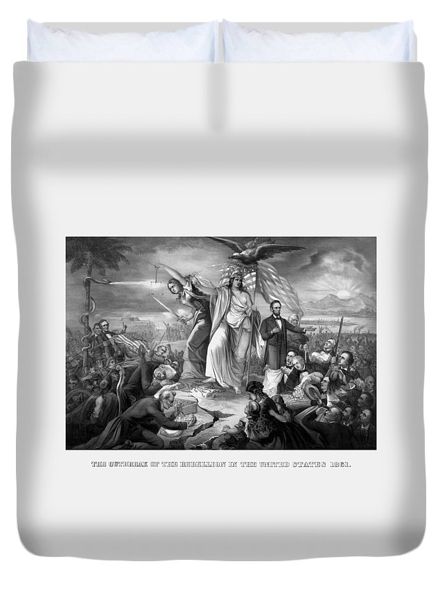 Civil War Duvet Cover featuring the drawing The Outbreak Of The Rebellion In The United States by War Is Hell Store