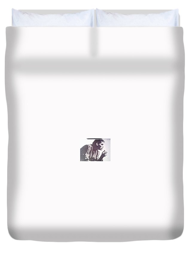 The Outsiders Duvet Cover featuring the drawing The Outsiders Death Of Dallas by Paul Scotland