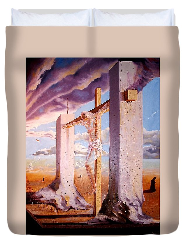 911 Duvet Cover featuring the painting The Pain Holder by Darwin Leon
