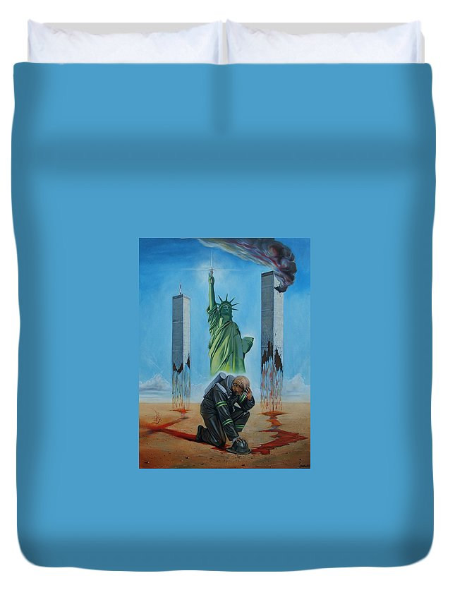 Surrealism Duvet Cover featuring the painting The Pain Holder II by Darwin Leon