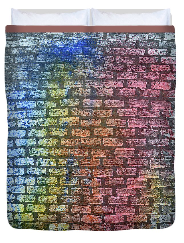 Wall Duvet Cover featuring the painting The Painted Brick Wall by Zilpa Van der Gragt