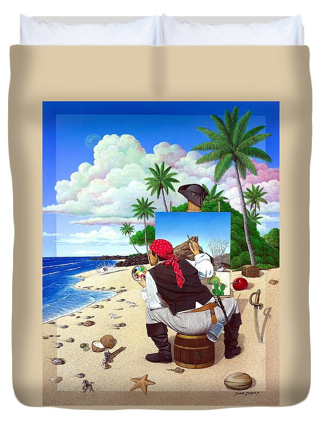 Pirate Duvet Cover featuring the painting The Painting Pirate by Snake Jagger
