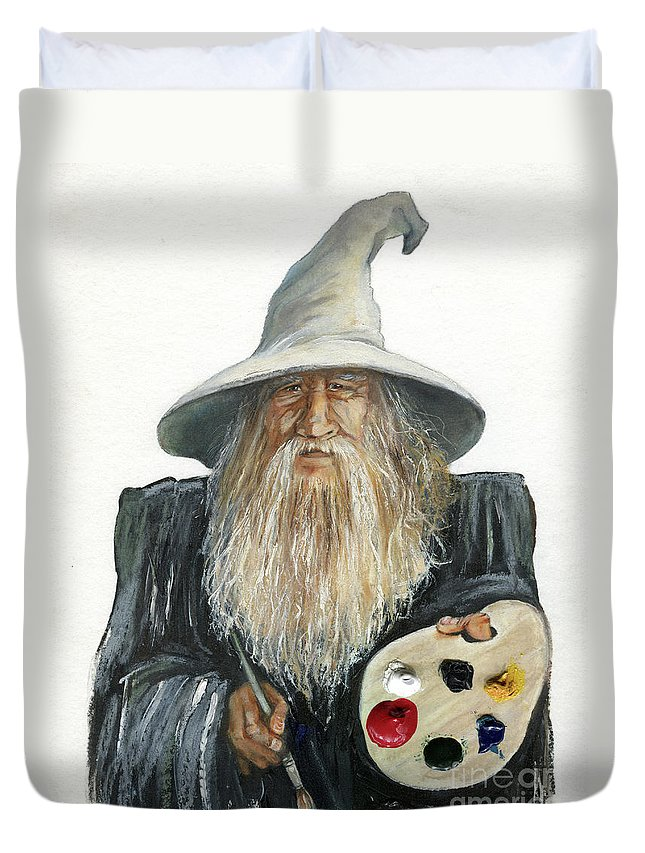 Wizard Duvet Cover featuring the painting The Painting Wizard by J W Baker