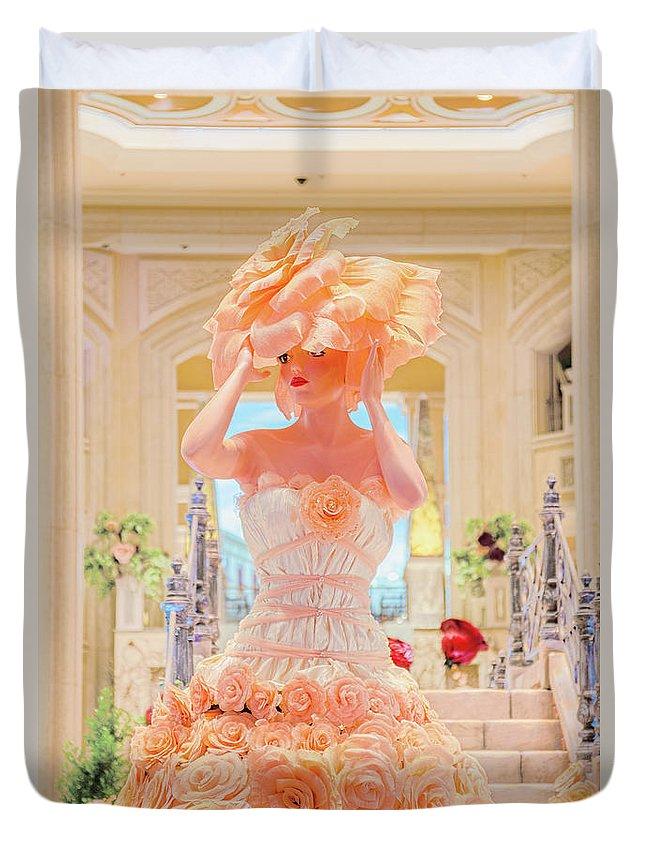 Venetian Rose Dress Duvet Cover featuring the photograph The Palazzo Casino Venetian Rose Dress by Aloha Art