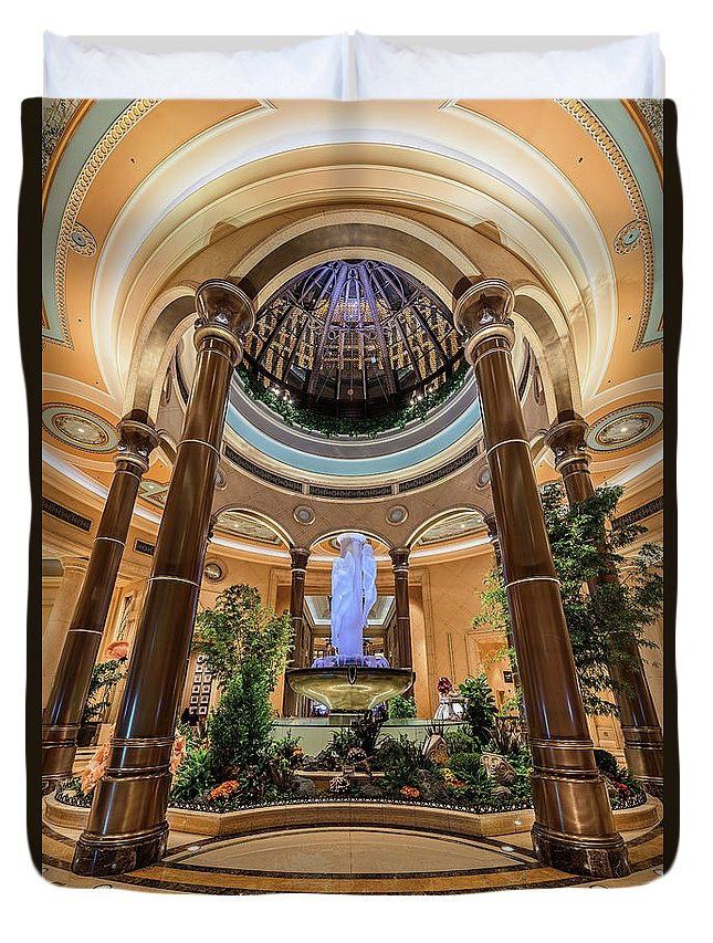 The Palazzo Casino Duvet Cover featuring the photograph The Palazzo Inside Main Entrance by Aloha Art