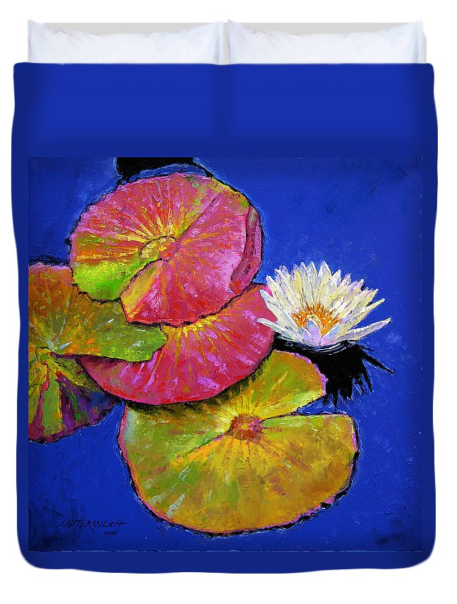 Water Lily Duvet Cover featuring the painting The Palletes Of Fall by John Lautermilch