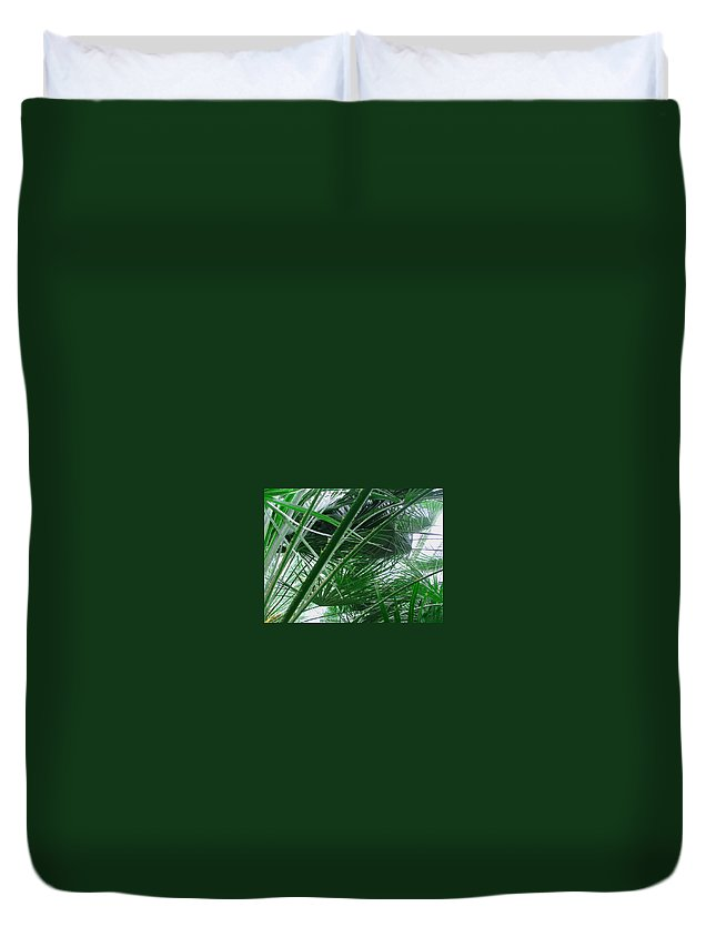 Palm Tree Duvet Cover featuring the photograph The Palm House Kew England by Heather Lennox