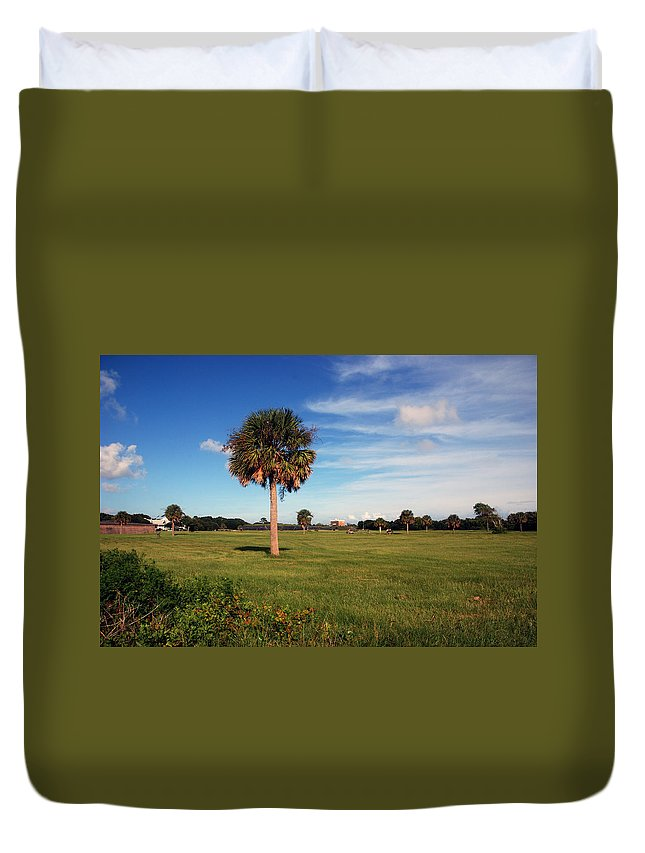 Photography Duvet Cover featuring the photograph The Palmetto Tree by Susanne Van Hulst
