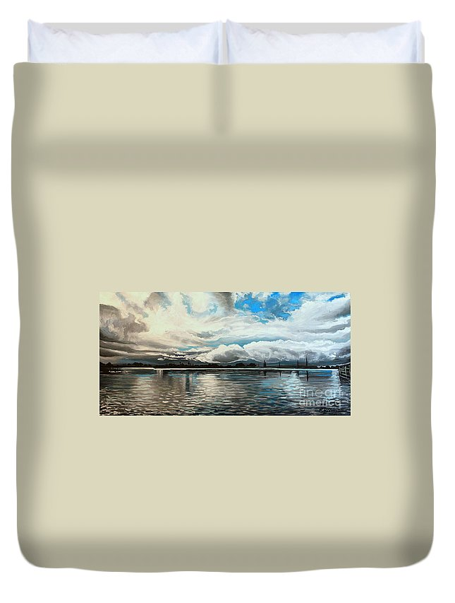 Landscape Duvet Cover featuring the painting The Panoramic Painting by Elizabeth Robinette Tyndall